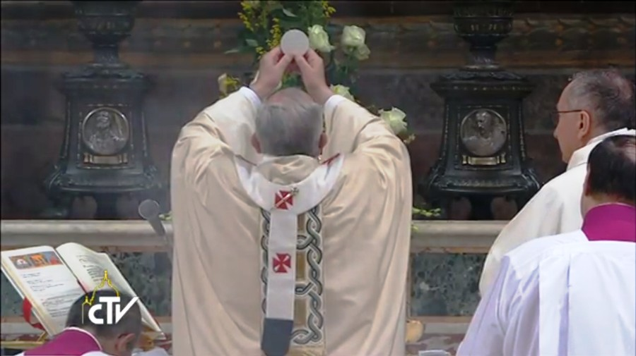 Pope Francis celebrating Mass 'Ad Orientem'... lierally means 'Toward the East' or 'Facing the East'. The priest is celebrating Mass facing the ALTAR during the Eucharistic Prayer rather than the People.